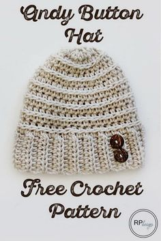 Button Crochet Hat.