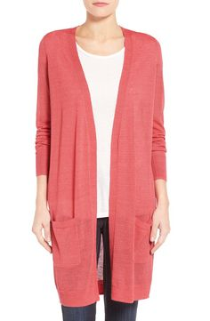 Halogen® Halogen® Long Linen Blend Cardigan (Regular & Petite) available at #Nordstrom