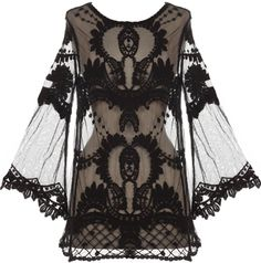 Night Flight Top: Features a lightweight mesh foundation illuminated by Victorian crochet detailing, long bell-shaped sleeves for an iconic silhouette, and an elegant tunic length to finish.