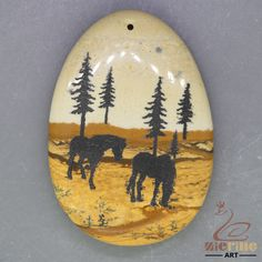 Hand Painted Horse animal Pendant Natural Picture Jasper   ZL001294 #ZL #Pendant