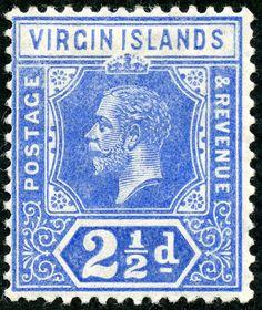 "British Virgin Islands  1913 Scott 41 2½d ultramarine ""George V"" Die I; Wmk 3"
