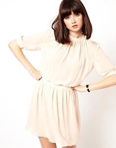 ASOS Skater Dress With Gathered Neck (like her hairstyle, too)