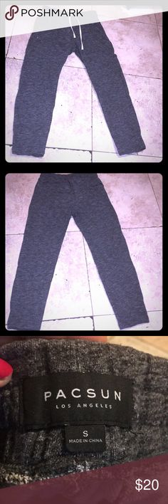 "PACSUN Los Angeles Jogging Pants Grey and black size small inseam 27"" Waist is 28"" four pockets 2 front pockets have zippers, also drawstring PacSun Pants Track Pants & Joggers"