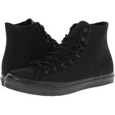 Converse Chuck Taylor All Star Hiker Leather Athletic Shoes ($30) ❤ liked on Polyvore featuring shoes, converse, black, black cap toe shoes, black shoes, black laced shoes, star shoes and leather lace up shoes
