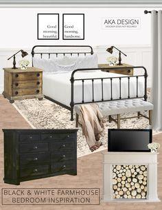 Black and White Farmhouse Bedroom Inspiration via @akadesigndotca