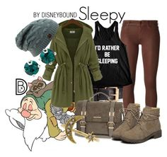 Sleepy by leslieakay on Polyvore featuring polyvore, fashion, style, Koral, River Island, Kent & King, H&M, 7 For All Mankind, disney, disneybound and disneycharacter
