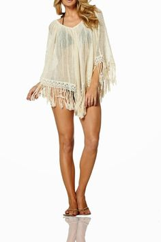 Sand-colored crochet poncho. Perfect over your favorite casual jeans and tank or as a beach cover-up.   Trip-To-Eureka Poncho by Elan. Clothing - Swimwear - Cover Ups Fayetteville, Arkansas