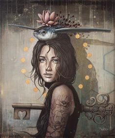 brown - woman with fish and key - painting - Sophie Wilkins Art Bizarre, Weird Art, Strange Art, Art And Illustration, Fantasy Kunst, Fantasy Art, Modern Art, Contemporary Art, L'art Du Portrait