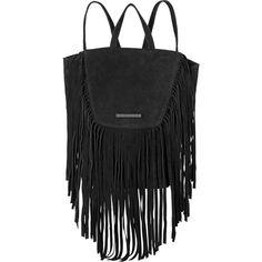 Et DAY Birger et Mikkelsen Soft Fringe Backpack, Black (4.100.010 IDR) ❤ liked on Polyvore featuring bags, backpacks, long bag, draw string bag, rucksack bag, suede fringe backpack and shoulder strap backpack