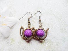 Quirky brass teapot earrings with purple matte beads, antique style brass, vintage style, Alice in Wonderland by SelmaDreams on Etsy