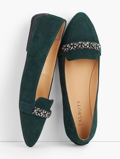 Francesca Jeweled Driving Flats - ropa, vacaciones y más Cute Shoes, Me Too Shoes, Black Evening Shoes, Sparkly Flats, Buy Shoes Online, Green Shoes, Clearance Shoes, Types Of Shoes, Casual Shoes