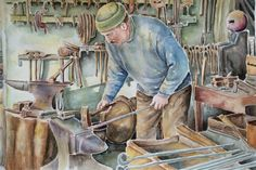 Watercolor painting 'blacksmith' ,original art,wall decor by SuayaArt on Etsy