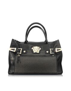 2a0bce908f67 Versace Medusa Logo Black Leather Satchel w Golden Studs at FORZIERI Versace  Purses