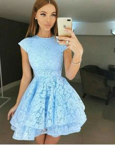 Cute lace dress - I would probably go for a deeper/jewel tone color Cute Lace Dresses, Hoco Dresses, Elegant Dresses, Pretty Dresses, Homecoming Dresses, Beautiful Dresses, Dress Outfits, Formal Dresses, Light Blue Dress Short