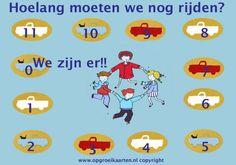 In de auto aftellen hoelang de reis nog duurt. Tip om de reistijd naar de vakantiebestemming overzichtelijk te maken voor je kind.