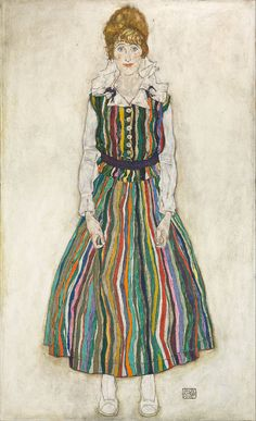 1915,Egon Schiele (1890-1918) Edith (the artist's wife) Oil on canvas.wooden frame, painted black.1,837x1,147 mm. Gemeentemuseum Den Haag.