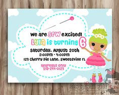 Lalaloopsy Birthday Invitation, Lalaloopsy Invite, Cute, Kawaii, Girls Birthday Digital Printable, 5 x 7 JPG File