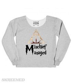 Mischief Managed with the deathly hallows symbol from Harry Potter. #Skreened #harrypotter #mischiefmanaged #harry #potter #sweatshirt #womens