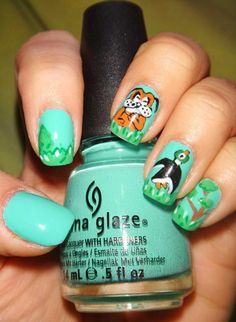 China Glaze - Aquadelic  Inspired by the original Nintendo's Duck Hunt.  All that's missing is the orange gun! :)