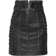 Balmain Lace-up textured-leather mini skirt ($2,675) via Polyvore featuring skirts, mini skirts, zipper skirt, mini skirt, balmain, punk skirt and short mini skirts