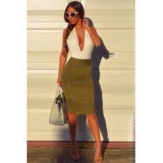 USD9.49Cheap Sexy V Neck Tank Sleeveless Backless Patchwork Green Sheath Knee Length Dress