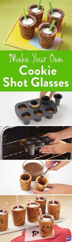Milk and cookies anyone? This ingenious Cookie Shot Glass Pan Set combines two iconic pairings for one delicious treat. Bake six cookie shot glasses at once, the perfect party treat!