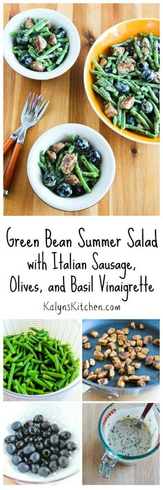 I love fresh summer green beans and they're delicious in this Green Bean Summer Salad with Italian Sausage, Olives, and Basil Vinaigrette. [from KalynsKitchen.com] #LowCarb #GlutenFree
