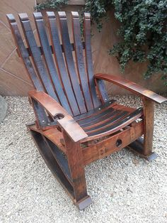 reclaimed handcrafted wine stave rocking chair by reWINEddesigns Wine Barrel Chairs, Whiskey Barrel Furniture, Wine Barrels, Plans Rocking Chair, Plans Chaise Adirondack, Adirondack Chairs, Furniture Projects, Wood Projects, Furniture Plans