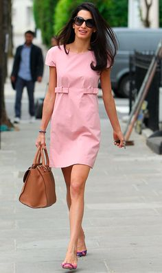 Dresses Ol Short Sleeve Belt Korean Fashion A-Line Sweet Summer Loose Mini Dress Pink Pink Mini Dresses, Nice Dresses, Casual Dresses, Fashion Dresses, Pink Dress, Winter Typ, Business Outfit, Elegant Outfit, Skirts