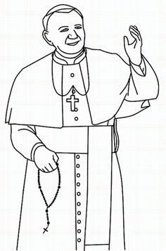 Pope John Paul II Coloring page. Print out a pic of Pope John Paul II for kids to color. Catholic Religious Education, Catholic Crafts, Catholic Kids, Catholic Saints, Colouring Pages, Printable Coloring Pages, Kids Coloring, Papa Juan Pablo Ii, Saint Teresa Of Calcutta