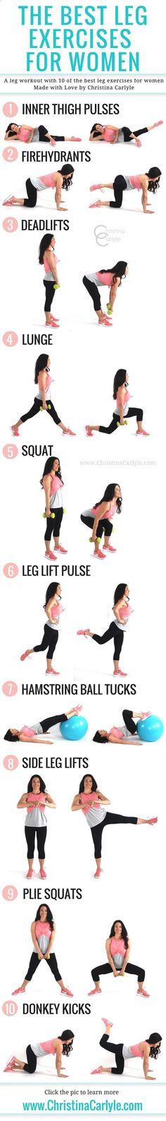 These are the best leg exercises for women that will help you tighten and tone your legs without bulking up. Do all of these exercises for a complete leg workout and you should really feel the burn. #legworkout #legexercises http://www.weightlosejumpsstar