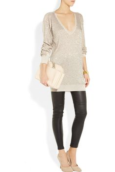 "Stella McCartney  My ideal ""night out"" outfit. comfy because its an oversized sweater and leggings but oh so dressed up"