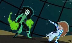 Kim Possible and Shego Cartoon Gifs, Cartoon Shows, Kim X Shego, Kim Possible Shego, Kim Possible Characters, Kim And Ron, Superman Story, Childhood Memories 90s, Fighting Poses