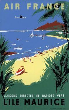 Affiche AIR FRANCE L'Île Maurice - Renluc 1954