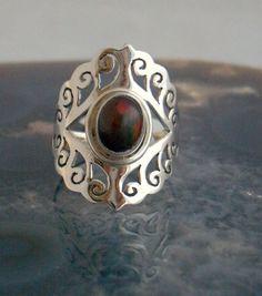 Sz  , Genuine Black!! ETHIOPIAN WELO OPAL Gemstone, 925 Solid Sterling Silver Victorian Jali Style Fabulous Ring Sz8 Jewellery!! by AmeogemJewellery on Etsy