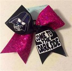 Darth Vader Come to the Dark Side Pink Sequins and Black Mystique Cheer Bow