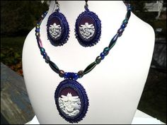 White Dragonfly and Lotus Against Purple Sky Bead Necklace Earring Set | specialtivity - Jewelry on ArtFire