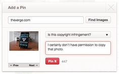 Pinning a copyrighted image from a story about Pinterest breaking copyright law? My apologies in advance if I break Pinterest with this