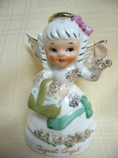 Highly collectible Napco Vintage August Birthday Angel Figurine Wings by TUMBLEWEEDCOTTAGE, $25.00