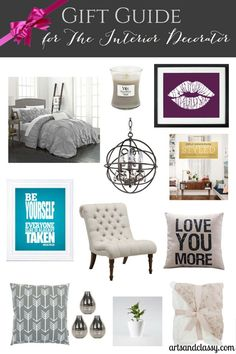 Gift guide for the interior decorator friend or family member! This guide ranges on a variety of budgets ranging from $5 to about $300. Do you have a friend that has a stylish place? Why not get her a cool piece of art of a delicious scented candle? Find exactly what you need and an easy way you can get it!