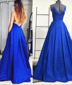 prom dresses,New Arrival simple v neck royal blue long prom gown, evening dresses