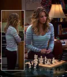 Penny's aqua and purple striped long sleeve tee on The Big Bang Theory.  Outfit details: http://wornontv.net/2466/