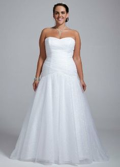 David's Bridal Women's Sweetheart Sequin Tulle Ball Gown with Corset Back $649.99