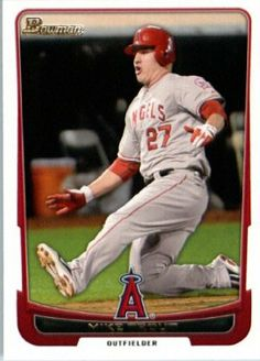 2012 Bowman Baseball #34 Mike Trout Angels ENCASED MLB Trading Card by Bowman. $7.95. Card is in MINT condition. Single 2012 Bowman Baseball Card. Card ENCASED in a Screwdown Display Case. NOTE: Stock Photo Used. Contact seller if there is no image or you have questions. Look for thousands of other great sportscards of your favorite player or team. 2012 Bowman Baseball #34 Mike Trout Angels ENCASED MLB Trading Card