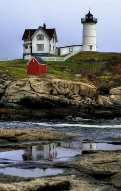 Nubble Light, York Beach, Maine New England -- we went here a lot when I was younger! New England York Beach Maine, York Maine, Cape Neddick, Lighthouse Pictures, Beacon Of Light, Am Meer, Le Moulin, Oh The Places You'll Go, Hidden Places