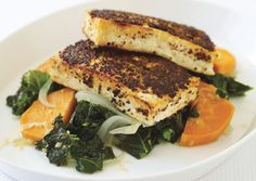 Mustard-Crusted Tofu w/ Kale and Sweet Potato