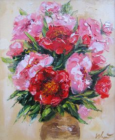 Peonies Giclee canvas print of original oil painting by IvMarART