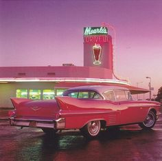 My favorite Cadillac, at my favorite drive-in. - My favorite Cadillac, at my favorite drive-in. Cadillac Rosa, Pink Cadillac, 1959 Cadillac, Aesthetic Vintage, Aesthetic Photo, Aesthetic Pictures, 1950s Aesthetic, Peach Aesthetic, Aesthetic Girl