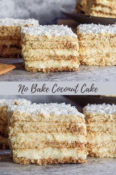 Coconut Desserts, Coconut Recipes, Easy Desserts, Baking Recipes, Delicious Desserts, Cake Recipes, Dessert Recipes, Other Recipes, Sweet Recipes
