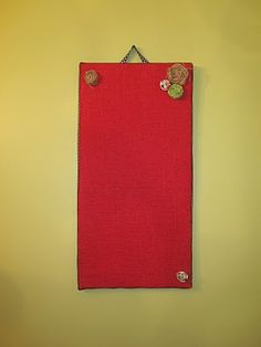 Modge Podge Red Burlap Onto 3 Ikea Magnet Boards And Hang Over Bookshelf Cork
